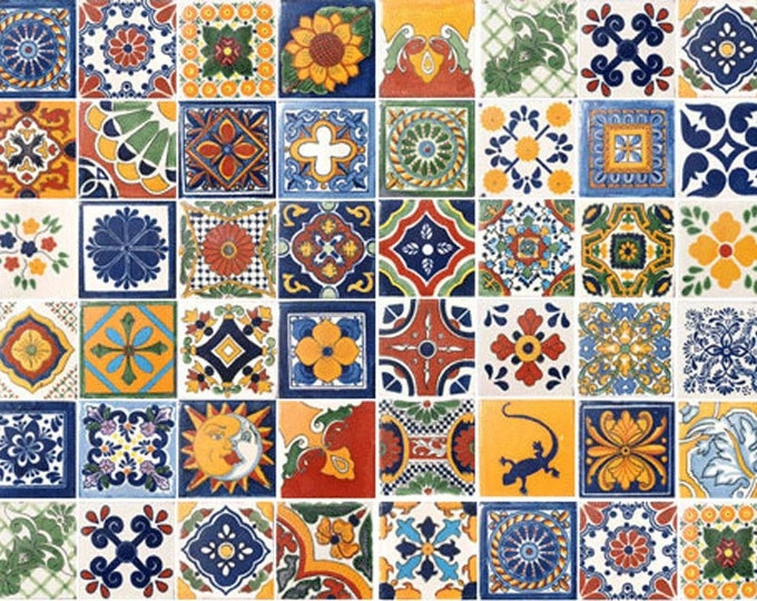 60 Assorted Mexican Ceramic 4x4 inch Hand Made Tiles