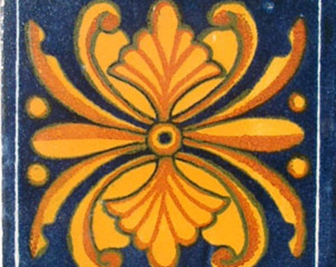 C#044))  Mexican Ceramic 4x4  inch Hand Made Tile