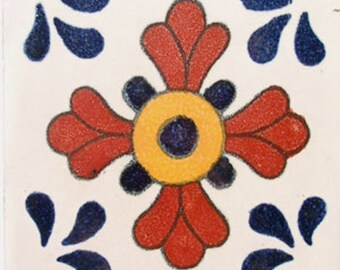C#036))  Mexican Ceramic 4x4  inch Hand Made Tile
