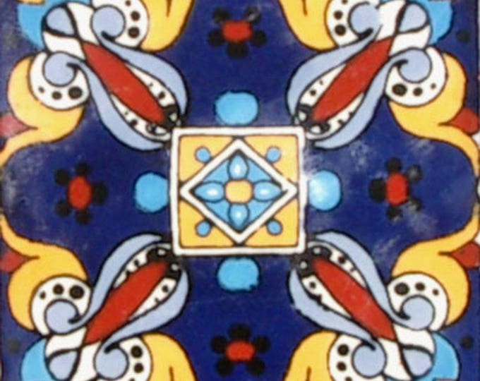C#089))  Mexican Ceramic 4x4  inch Hand Made Tile