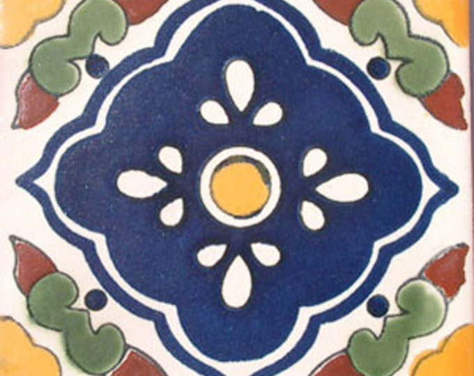 C#027))  Mexican Ceramic 4x4  inch Hand Made Tile