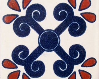 C#049))  Mexican Ceramic 4x4  inch Hand Made Tile