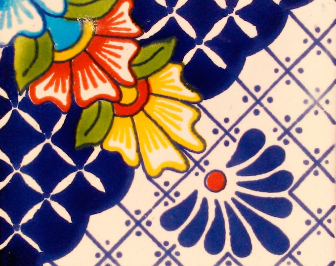 C#123))  Mexican Ceramic 4x4  inch Hand Made Tile