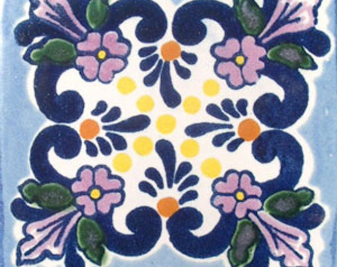 C#008))  Mexican Ceramic 4x4  inch Hand Made Tile