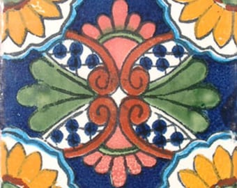 9 MEXICAN TILES WALL OR FLOOR USE TALAVERA MEXICO CERAMIC HANDMADE POTTERY C#056