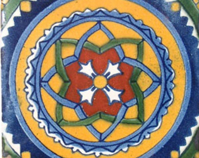 C#041))  Mexican Ceramic 4x4  inch Hand Made Tile