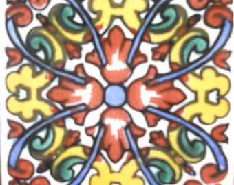 C#099))  Mexican Ceramic 4x4  inch Hand Made Tile