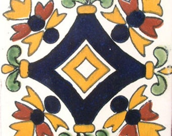 C#011))  Mexican Ceramic 4x4  inch Hand Made Tile