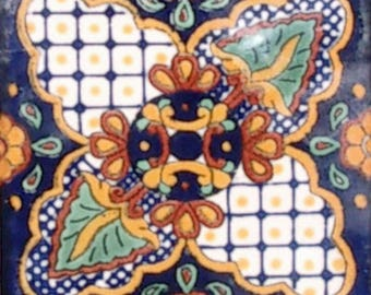 C#087))  Mexican Ceramic 4x4  inch Hand Made Tile