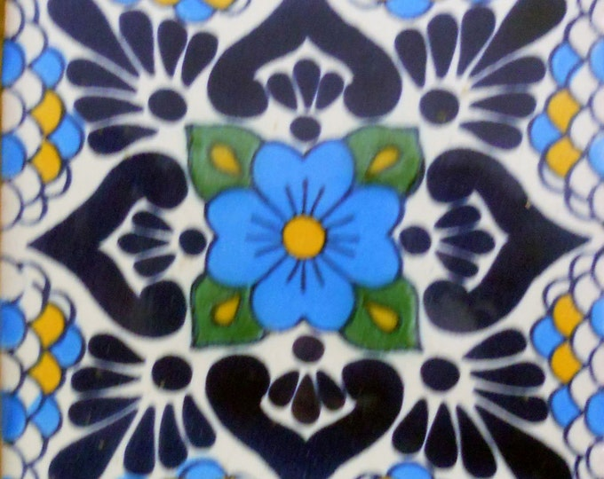 C#116))  Mexican Ceramic 4x4  inch Hand Made Tile