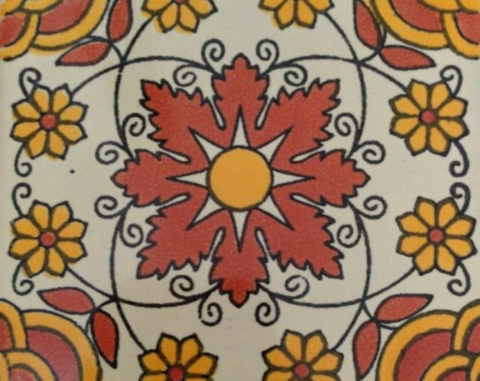 C#091))  Mexican Ceramic 4x4  inch Hand Made Tile
