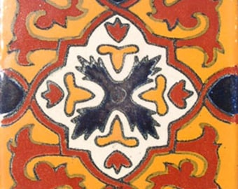 C#026))  Mexican Ceramic 4x4  inch Hand Made Tile