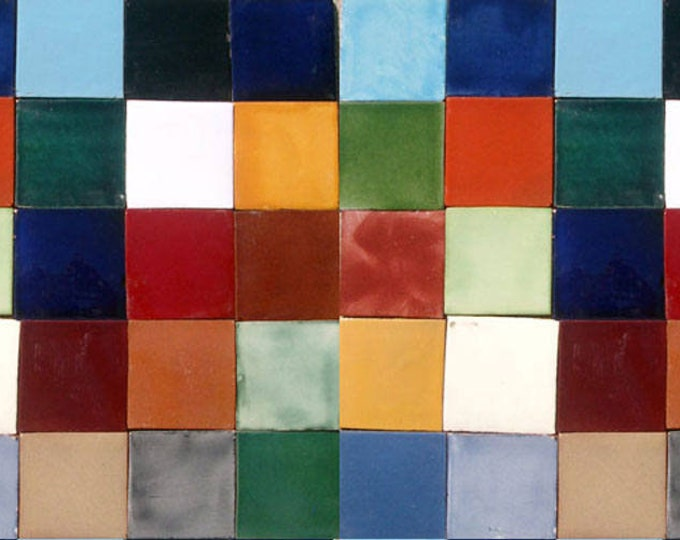 75 Assorted Solid colors Mexican Ceramic 4x4 inch Hand Made Tiles