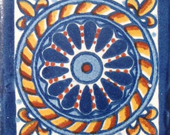 C#007))  Mexican Ceramic 4x4  inch Hand Made Tile