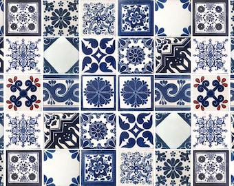 50 Blue and Off white Assorted Mexican Ceramic 4x4 inch Hand Made Tiles