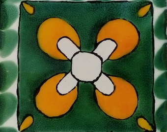 C#114))  Mexican Ceramic 4x4  inch Hand Made Tile