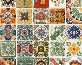25 Assorted Mexican Ceramic 2x2 inch Hand Made Tiles