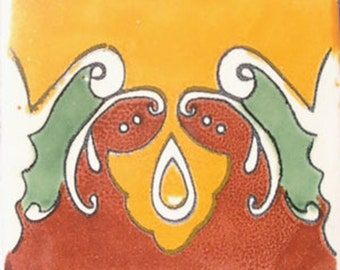 C#031))  Mexican Ceramic 4x4  inch Hand Made Tile