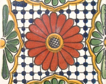 C#023))  Mexican Ceramic 4x4  inch Hand Made Tile