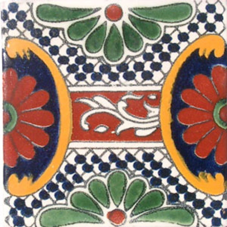 C#046 Mexican Ceramic 4x4  inch Hand Made Tile