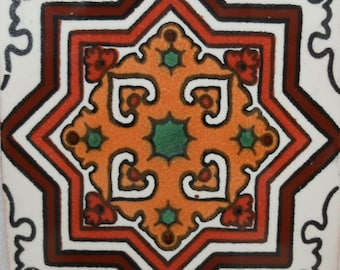 C#113))  Mexican Ceramic 4x4  inch Hand Made Tile