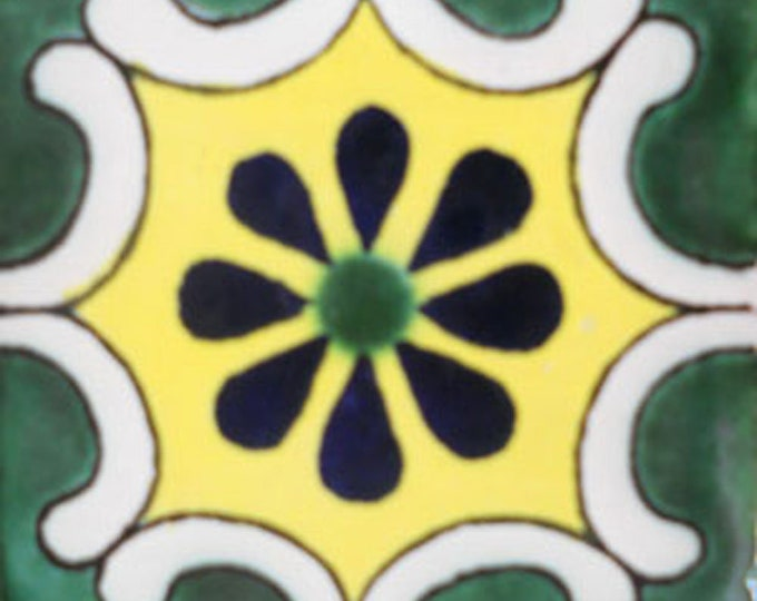 C#096))  Mexican Ceramic 4x4  inch Hand Made Tile