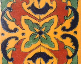 C#019))  Mexican Ceramic 4x4  inch Hand Made Tile