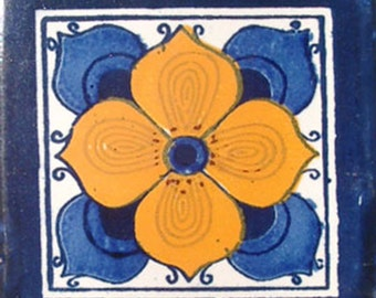 C#010))  Mexican Ceramic 4x4  inch Hand Made Tile