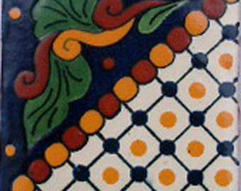 C#062))  Mexican Ceramic 4x4  inch Hand Made Tile