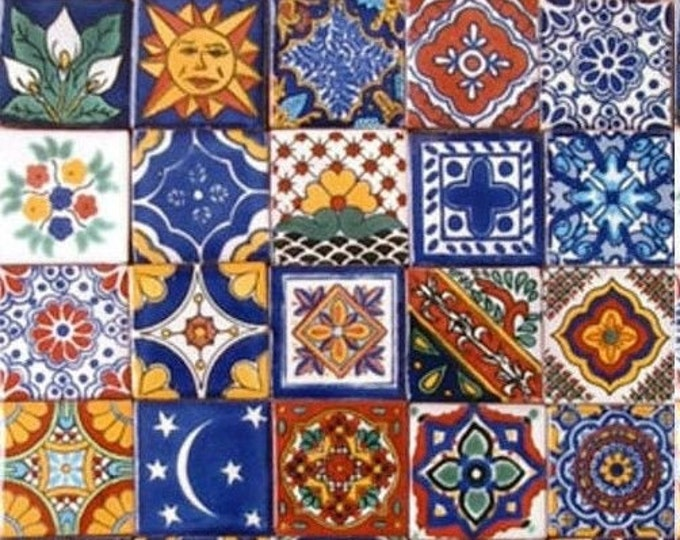 20 Tiles 6x6 inches Assorted Mexican Ceramic Hand Made Talavera