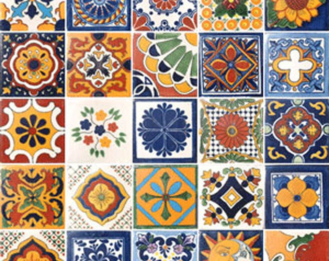 25 Assorted Mexican Ceramic 4x4 inch Hand Made Tiles