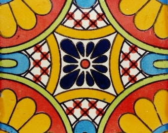 C#094))  Mexican Ceramic 4x4  inch Hand Made Tile