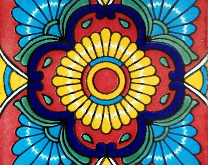 C#076))  Mexican Ceramic 4x4  inch Hand Made Tile