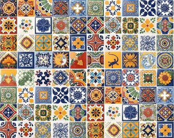 100 Assorted Mexican Ceramic 4x4 inch Hand Made Tiles