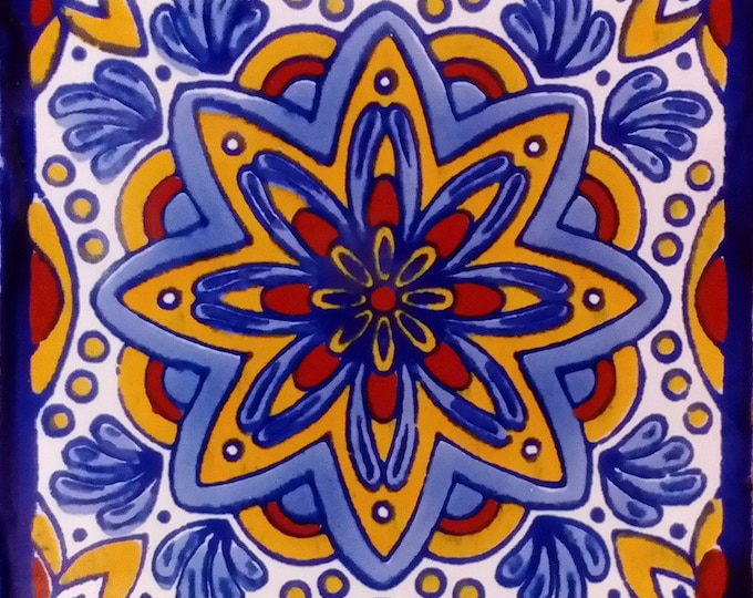 C#124))  Mexican Ceramic 4x4  inch Hand Made Tile