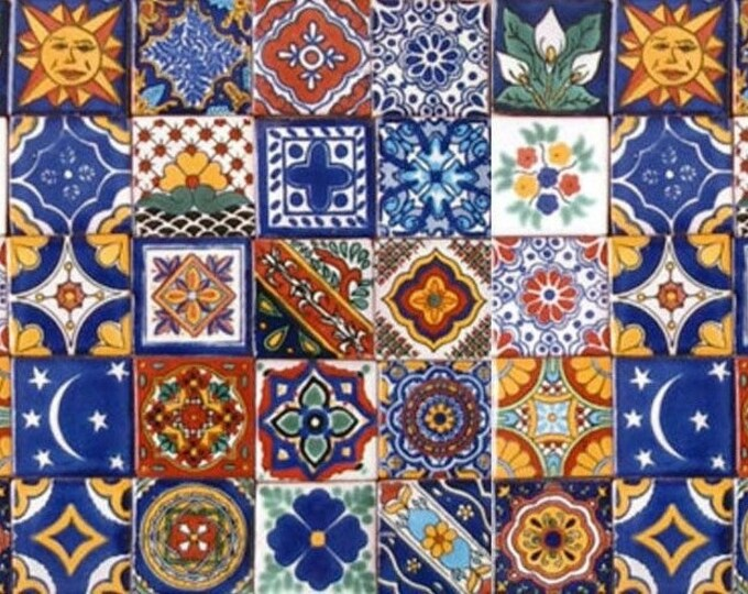 40 Tiles 6x6 inches Assorted Mexican Ceramic Hand Made Talavera