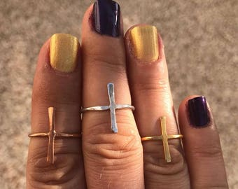 Sterling silver cross ring |Cross ring |Geometric ring |Modern minimalist ring| Sideways cross ring