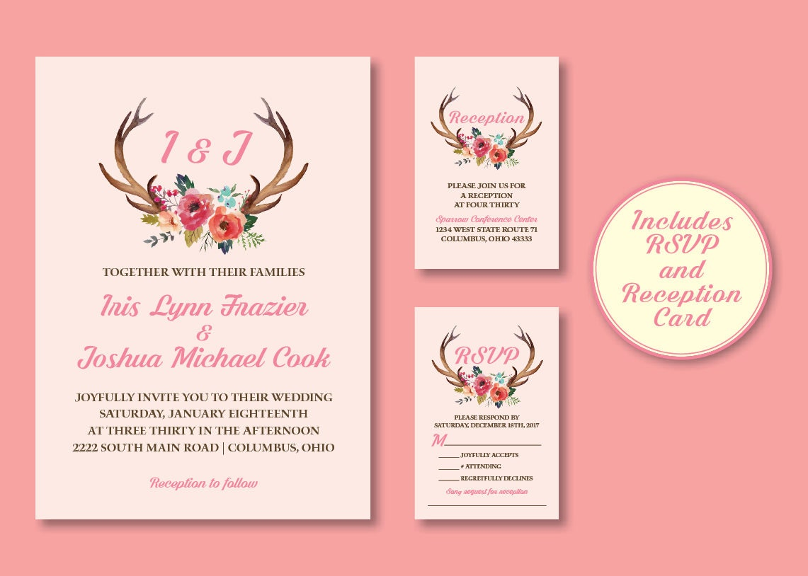 Floral Antlers Wedding Invitation | Etsy