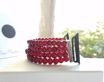 Apple Watch Band 38mm, Apple Watch Band 42mm, Red Glass Beaded Apple Watch Band