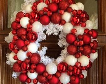 red and white christmas ornament wreath white garlad christmas wreath peppermint christmas wreath bauble wreath - Home Alone White Christmas
