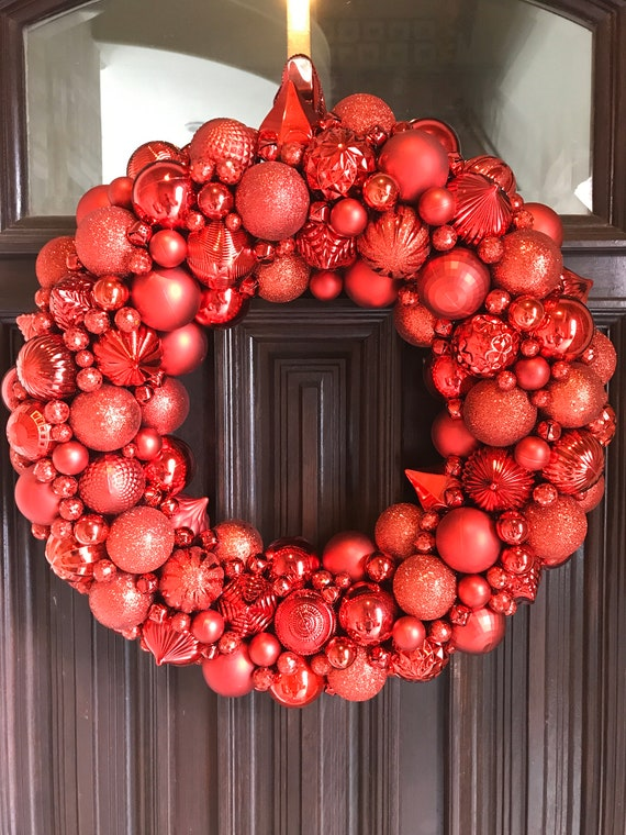 and Silver Ornament Christmas Wreath Green Gorgeous Red Bauble wreath The most detailed wreath you will ever find!