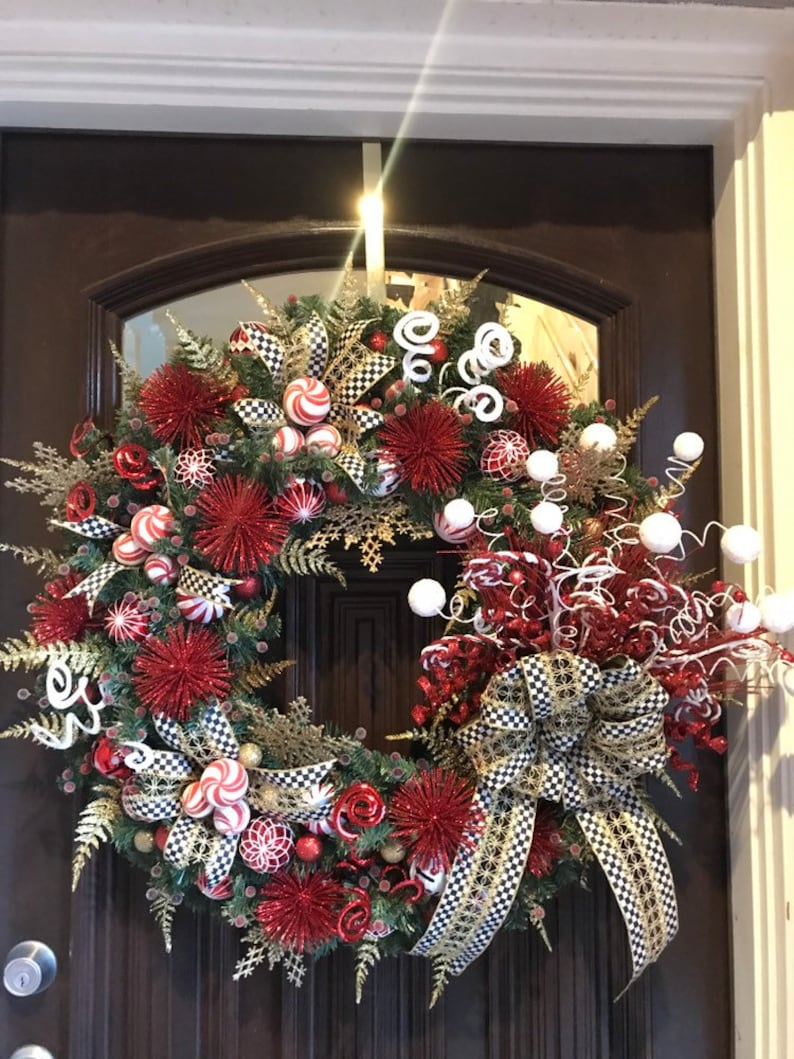 Red Gold White Whimsical Christmas Wreath with MacKenzie image 0