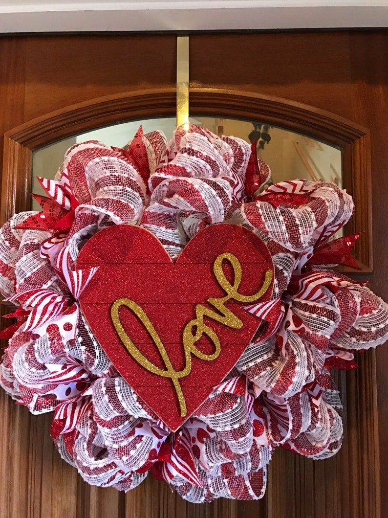 Red Heart covered in Glitter Valentine/'s Love Wreath and Gold Love Sign! Red and White Deco Mesh Valentine/'s Wreath with Ribbon On Sale
