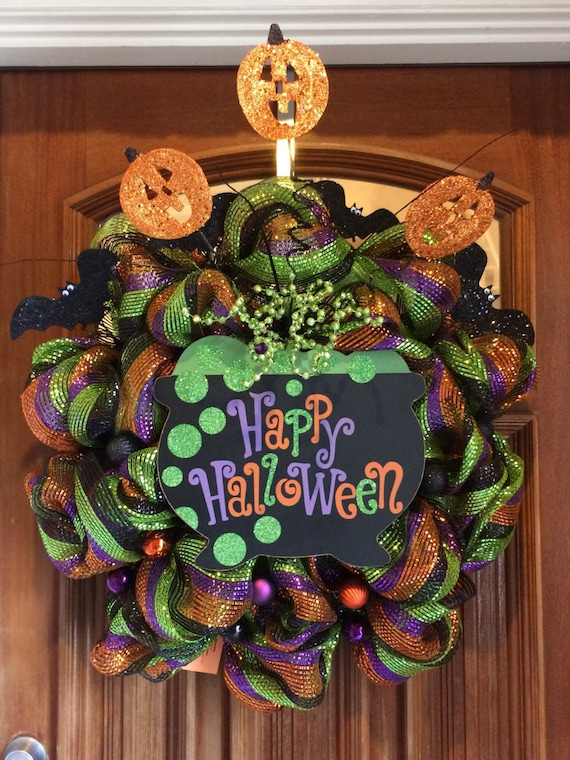 Only 1 Happy Halloween Wreath With Witches Cauldron Bats Etsy