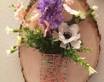 Mason jar string art - rustic home decor - home decor - wedding decor - rustic wedding decor - natural wood