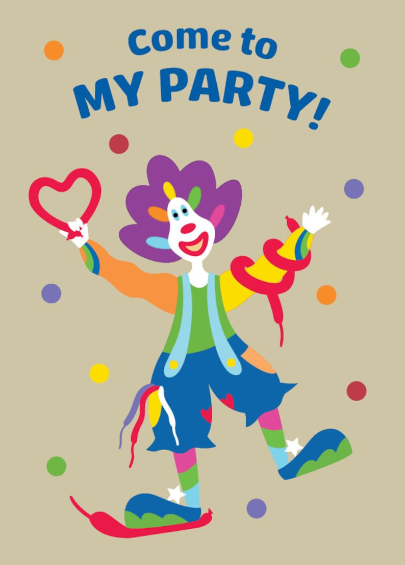 Curly The Clown Party Invitations Pack Of 12 Party Fun Etsy