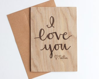 Love Cards Personalized Wood Card Valentines Gift 5th Anniversary I You For Mom Dad Her Him Husband Wife Laser Cut