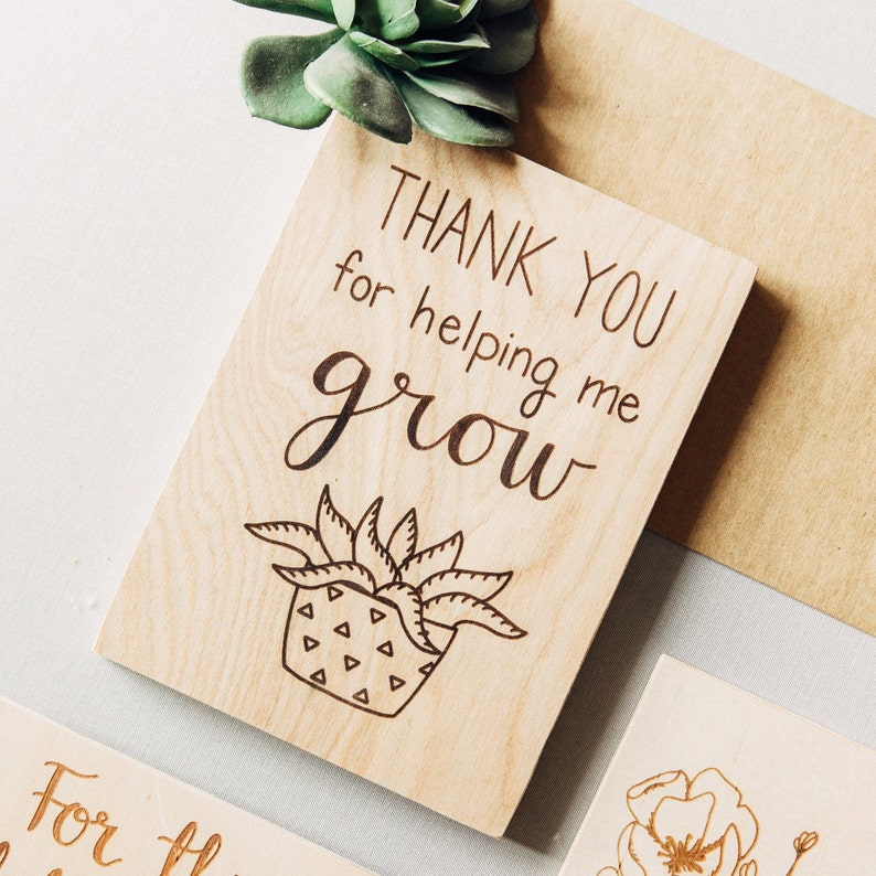 Teacher Gifts Thank You Wood Card Teacher Appreciation Gift Etsy