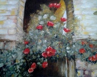 Original Fairytale Oil Painting Castle Climbing Red Roses Fairytale Princess Room Decor *Old Castle Window*