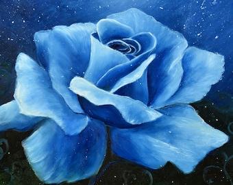 Fantasy Midnight Blue Rose Fairytale Starry Night Sky Abstract Oil  Moonlight  Modern Art Wall decor ORIGINAL Canvas Painting *Blue Rose*